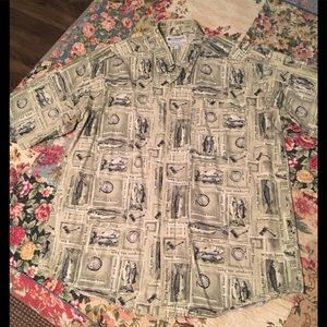 Columbia ss shirt with fish print LNC size Large